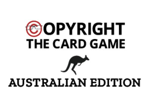 The logo for Copyright The Card Game – Australian Edition. It features a Kangaroo icon and the words 'Australian Edition' below the Copyright The Card Game logo designed by UK Copyright Literacy who created the original game.